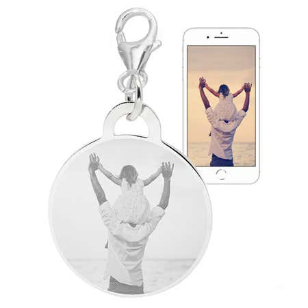 Customizable Round Photo Clip On Charm In Sterling Silver