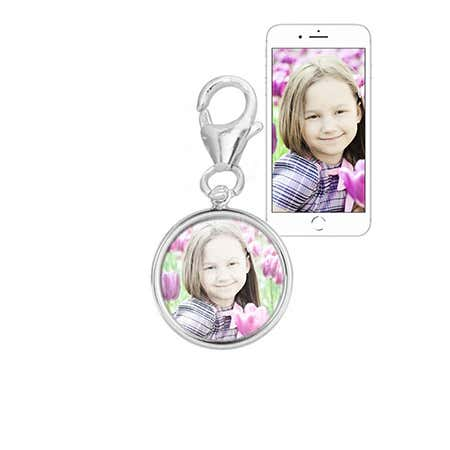 Custom Made Small Round Silver Bezel Frame Color Photo Charm