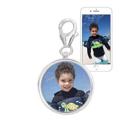 Custom Color Photo Charm Round Sterling Silver Bezel Frame