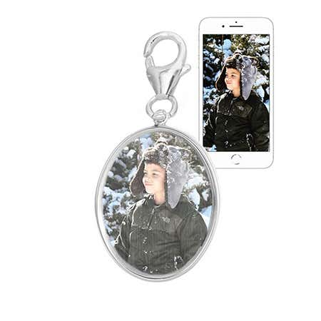 Customizable Oval Silver Bezel Frame Color Photo Charm