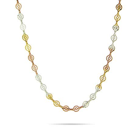Tri Color Round Design Sterling Silver Link Chain   Eve's Addiction