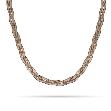 Reversible Rose Gold and Silver Braided Chain
