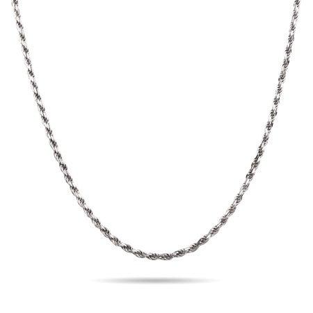 Sterling Silver Rhodium Braided Chain