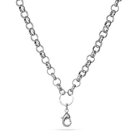 "20"" Rhodium Round Link Chain For Floating Lockets"