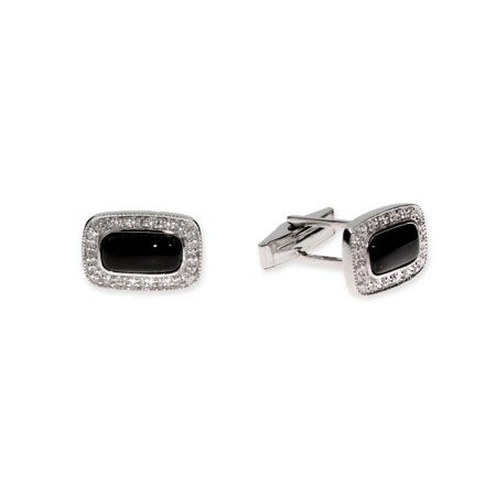 Men's Cufflinks with Diamond CZ Border & Onyx Center | Eve's Addiction®