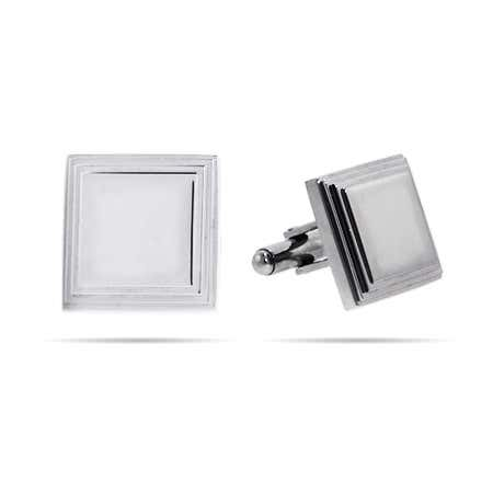 Men's Engravable Square Lined Stainless Steel Cufflinks | Eve's Addiction®