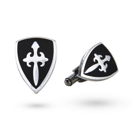 Men's Stainless Steel Fleur de Lis Crest Cufflinks | Eve's Addiction