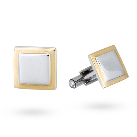 Men's Stainless Steel Square Cufflinks with Gold Lining | Eve's Addiction®
