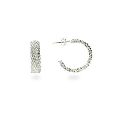 Designer Style Sterling Silver Mesh Hoop Earrings | Eve's Addiction®