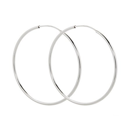 Celebrity Inspired Sterling Silver Continuous Hoop Earrings - 1.75 Inch | Eve's Addiction®