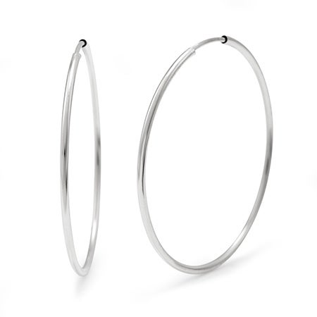 Celebrity Inspired Sterling Silver Continuous Hoop Earrings 1 5 Inch 18 20