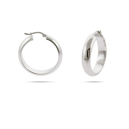 Celebrity Inspired Sterling Silver Bangle Hoop Earrings - 1.25 Inch | Eve's Addiction®