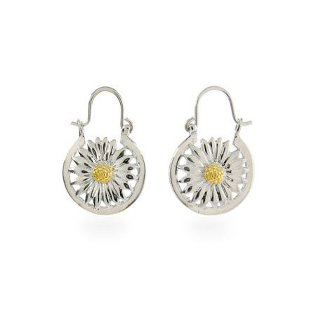 Designer Style Silver Nature Daisy Earrings