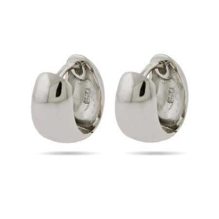 Sterling Silver Plain Huggie Earrings