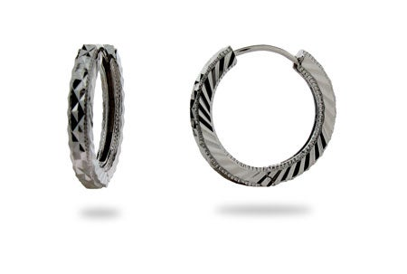 "1"" Sterling Silver Round Diamond Cut Hoop Earrings | Eve's Addiction®"