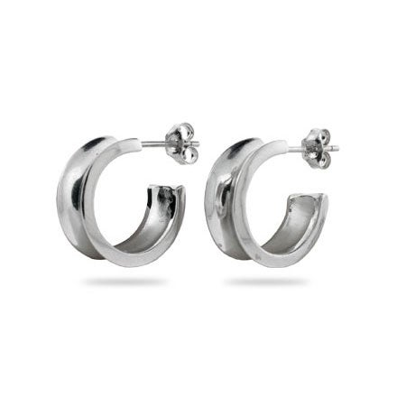 Designer Style 1837 Sterling Silver Hoop Earrings | Eve's Addiction®