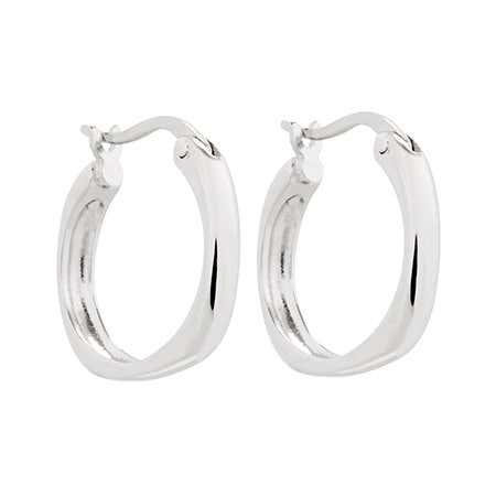 Designer Style Sterling Silver Cushion Hoop Earrings | Eve's Addiction®
