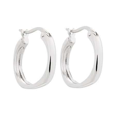 Sterling Silver Cushion Hoop Earrings