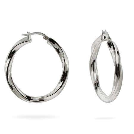 Sterling Silver Twisted Hoop Earrings | Eve's Addiction®