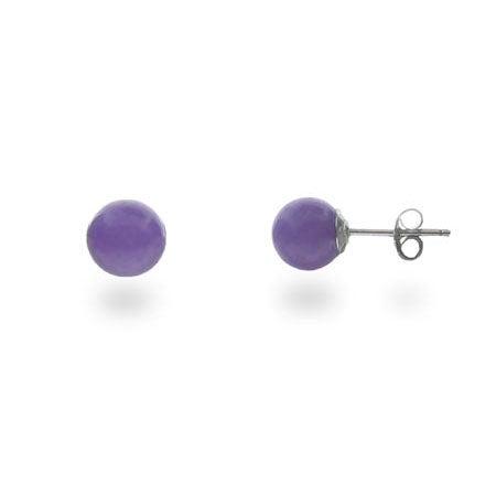 Genuine Purple Jade Stud Earrings | Purple Ball Studs