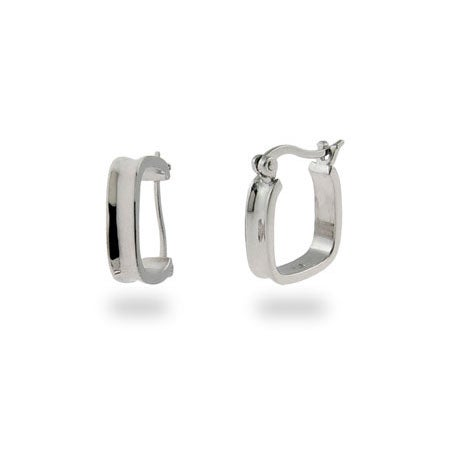 Designer Style Sterling Silver 1837 Cushion Hoops | Eve's Addiction®