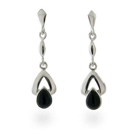 Sterling Silver and Onyx Pear Drop Earrings | Eve's Addiction®