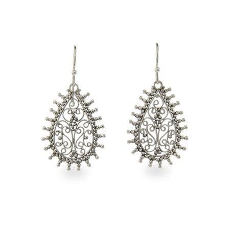 Filigree Teardrop Sterling Silver Bali Earrings | Eve's Addiction®