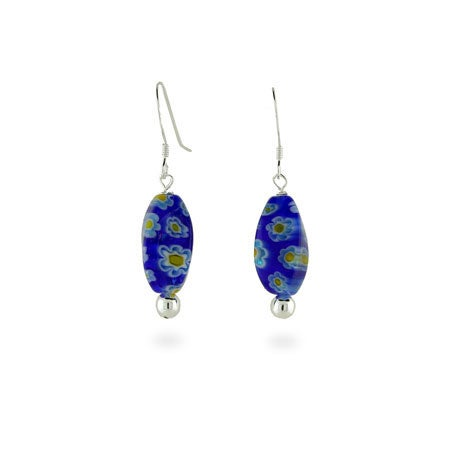 Sterling Silver Millefiori Venetian Glass Oval Blue Mosaic Earrings | Eve's Addiction®