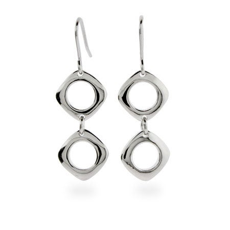 Designer Style Silver Cushion Drop Earring