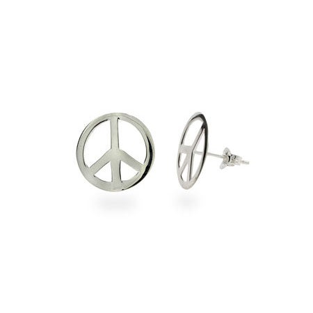 Sterling Silver Peace Sign Earrings | Eve's Addiction®