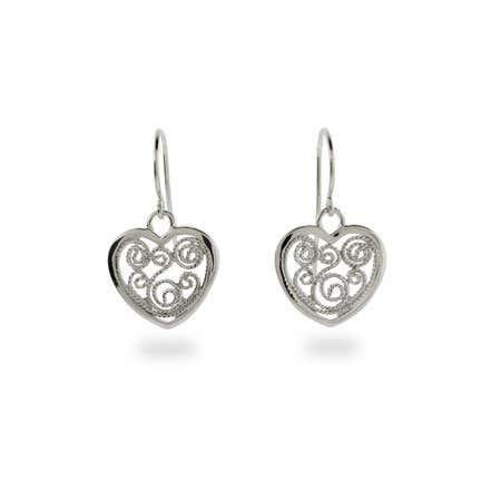 Vintage Filigree Heart Earrings