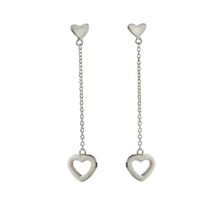 Designer Style Double Heart Drop Earrings | Eve's Addiction®