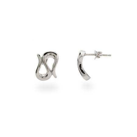 Designer Style Silver Wave Earrings
