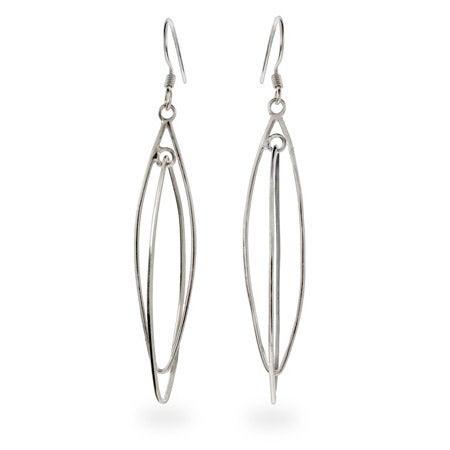 Plain Sterling Silver Double Almond Shape Earrings | Eve's Addiction®