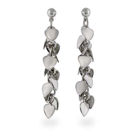 Sterling Silver Heart Cluster Dangle Earrings | Eve's Addiction®