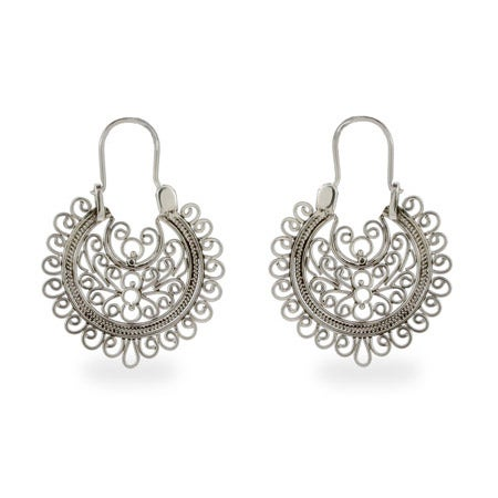 Sterling Silver Round Filigree Design Earrings | Eve's Addiction®