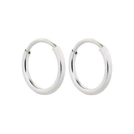 display slide 1 of 2 - 3/8 Inch Petite Sterling Silver Hoop Earrings | Eve's Addiction® - selected slide