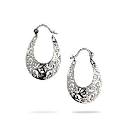 Filigree Bali Style Oval Hoop Earrings
