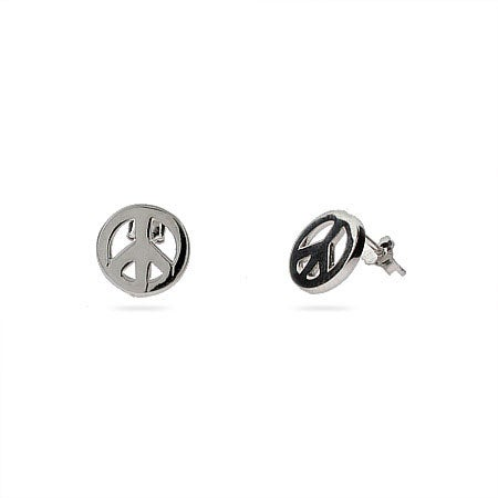Petite Sterling Silver Peace Sign Earrings | Eve's Addiction®