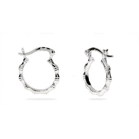 Silver .5 Inch Bamboo Hoop Earrings