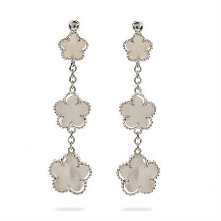 Designer Style Mother of Pearl Clover Earrings | Eve's Addiction®