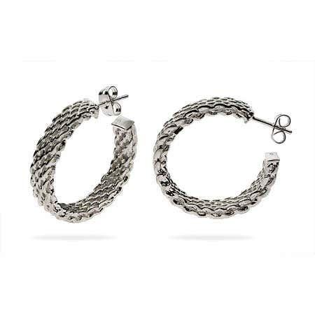 Designer Style Large Sterling Silver Mesh Hoop Earrings   Eve's Addiction®