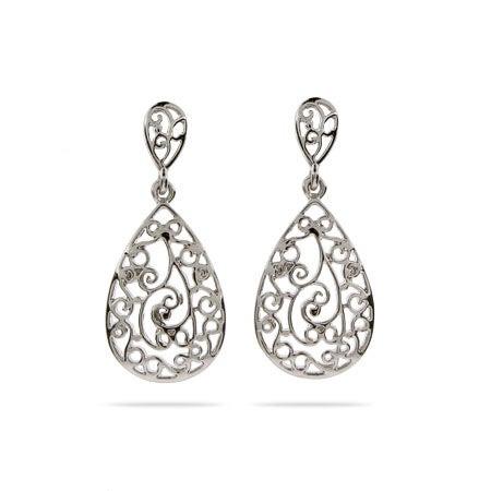 Sterling Silver Vintage Filigree Teardrop Earrings | Eve's Addiction®