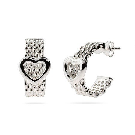 Designer Style Mesh Heart Hoop Earrings