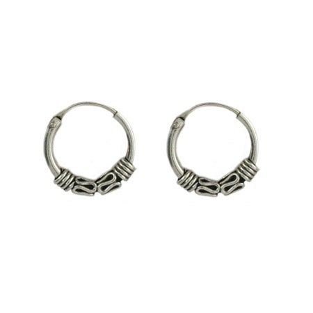Petite Bali Style Sterling Silver Hoop Earrings | Eve's Addiction®