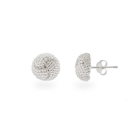 Designer Style Silver Mesh Knot Earrings | Eve's Addiction®