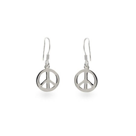 Dangling Peace Sign Sterling Silver Earrings