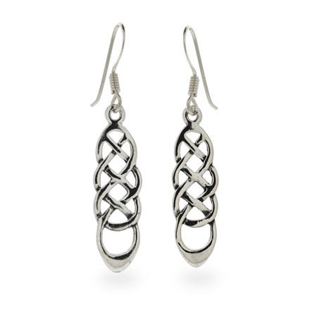 Sterling Silver Long Celtic Weave Earrings | Eve's Addiction®