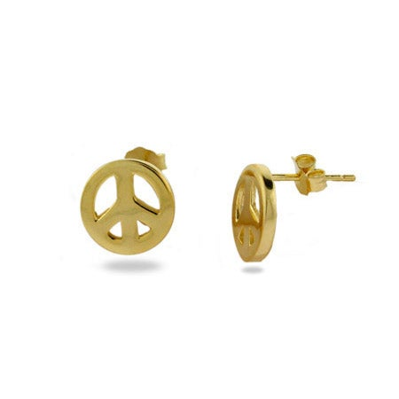 Petite Gold Vermeil Peace Sign Earrings | Eve's Addiction®