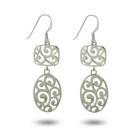Silver Oval Filigree Drop Earrings